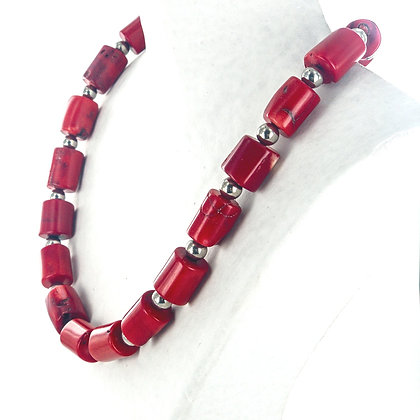 Red coral silver beaded sample necklace
