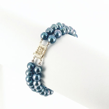 Double strand black pearl bracelet