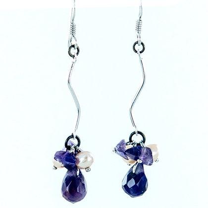Amethyst pearl long  silver wave earrings