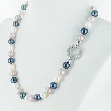 Multi colour pearl with large cz silver clasp