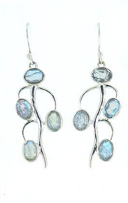 Sterling silver long stem earrings