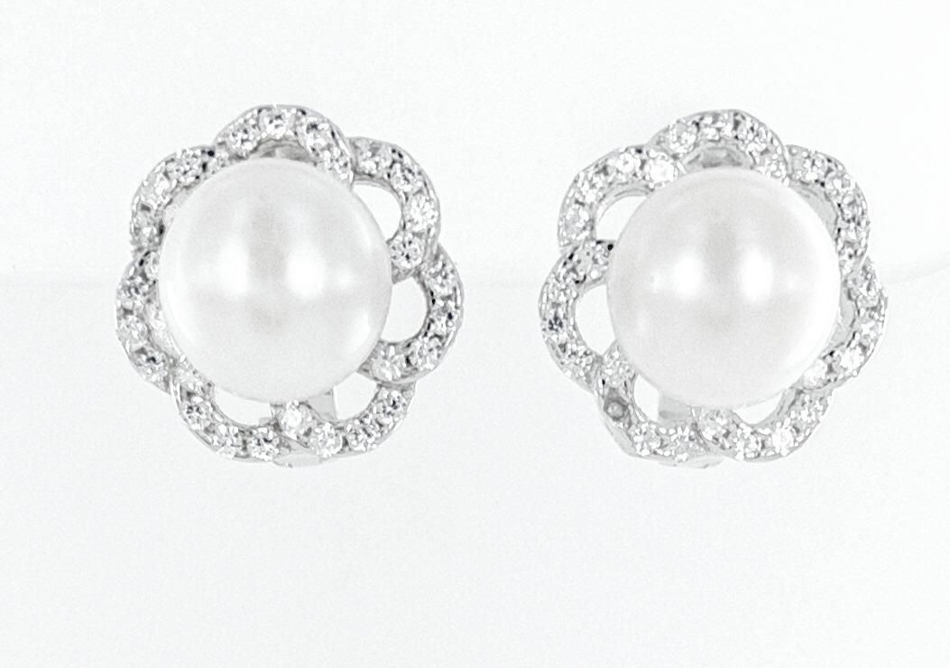 White pearl cz earrings