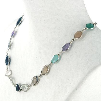 Multi semi precious gemstones silver necklace