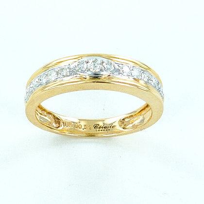 18ct yellow and white gold diamond 5mm ring