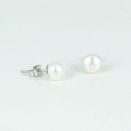 Silver 5mm pearl stud earrings
