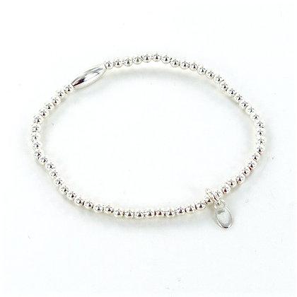 Silver beaded 925 charm bracelet
