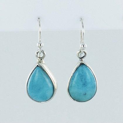 Turquoise teardrop silver short earrings