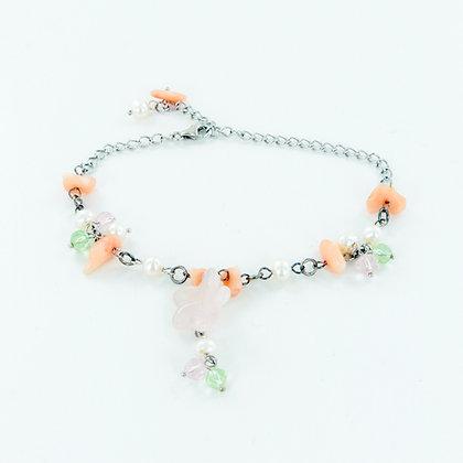 Floral rose quartz multi gemstone bracelet