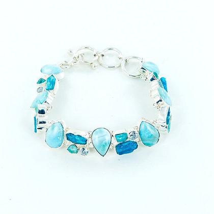 Larimar aquamarine blue topaz silver bracelet