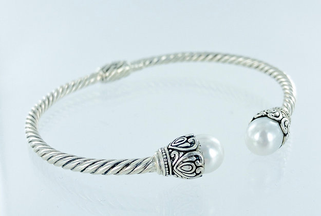 White pearl sterling silver twist bangle