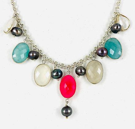Multi semi precious gemstones and sterling silver necklace