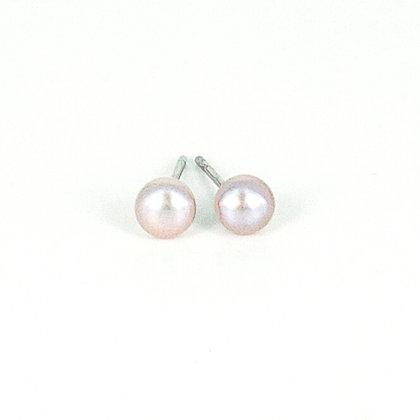 Silver small 4mm pearl stud earrings