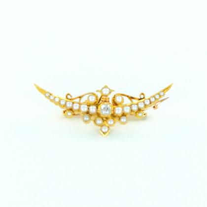 9ct yellow gold pearl diamond boat brooch
