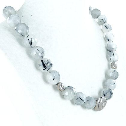 20 inch Tourmalated quartz gemstone necklace