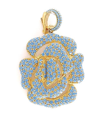 An exquisite blue turquoise gold enhance/clip-on pendant