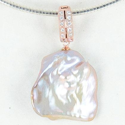 Pink keshi rose gold pendant enhancer