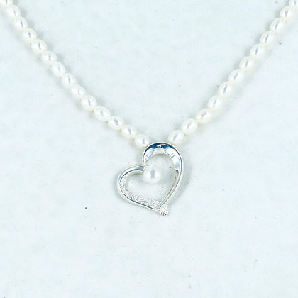 White pearl silver cz heart necklace