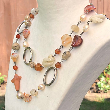 Carnelian, agate and pearl necklace