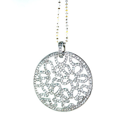 Large round sterling silver cz floral pendant