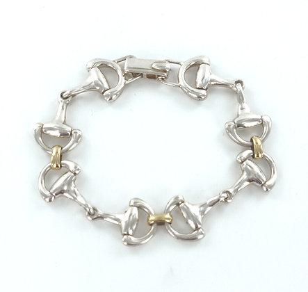 Snaffle silver gold bracelet