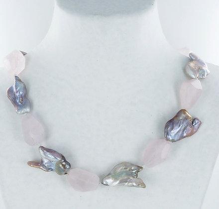 Rose quartz keshi pearl necklace