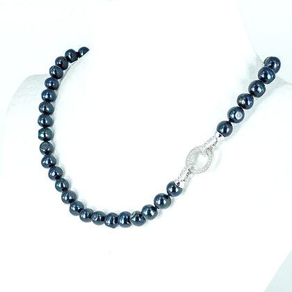Black pearl silver cz clasp necklace