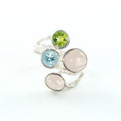Multi gemstone silver ring