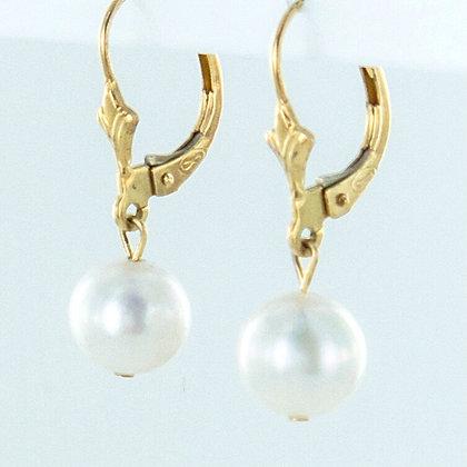 Pearl 14ct yellow gold drop earrings