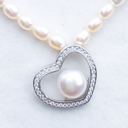 Silver heart white pearl necklace