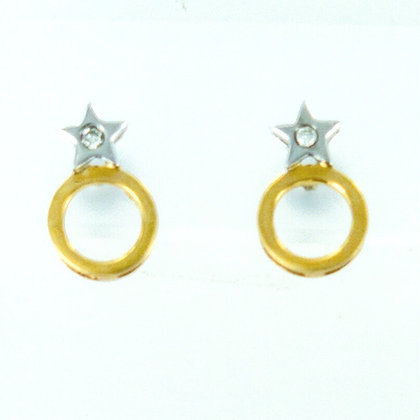 18ct yellow and white gold diamond star earrings