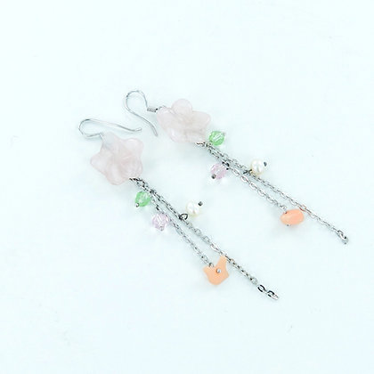 Floral rose quartz multi gemstone long earrings