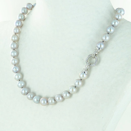 Pale grey pearl necklace with cz silver clasp