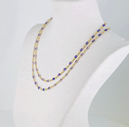 Purple amethyst gold double strand necklace