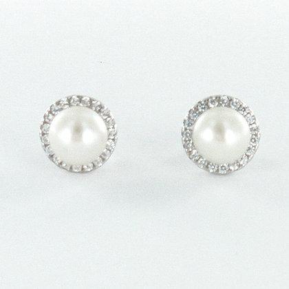 Pearl silver cz stud earrings