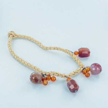 Brown carnelian necklace on French silk cord