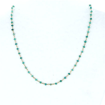 Dainty green onyx bead and gold magnetic clasp necklace