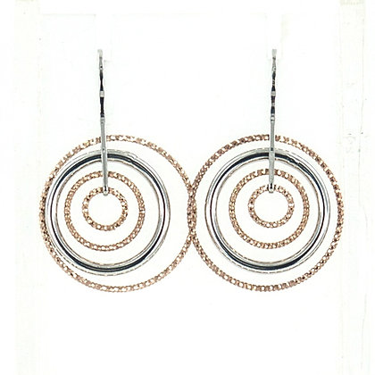 Silver rose gold ringed earrings