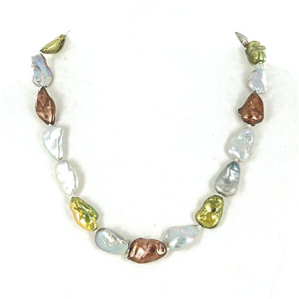Green, brown, grey and white baroque pearl necklace
