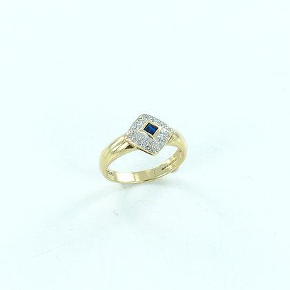 9ct yellow gold sapphire diamond ring