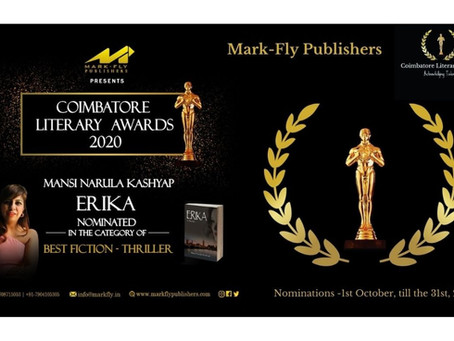 Mansi Narula Kashyap's Book-ERIKA, has been Nominated in the Coimbatore Literary Awards