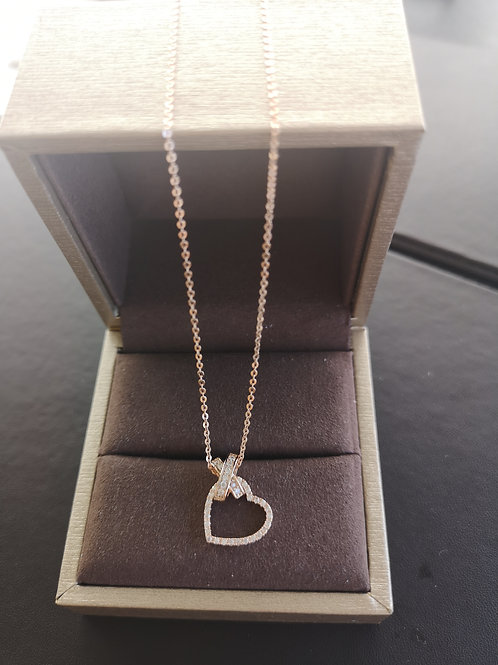 Rose Gold Heart Design Pendant Lady Fashion Necklace