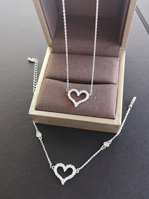 925 Sterling Silver Plated Heart Design Fashion Gift Set