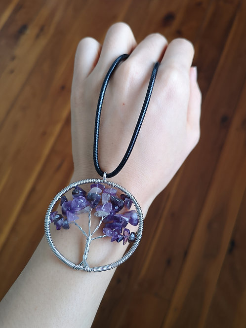 Family Tree Design polished amethyst Pendant Necklace
