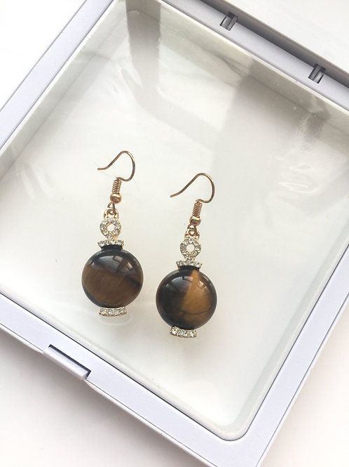 Woman 100% Genuine tiger eye Gemstone yellow gold plated Dangle Earrings