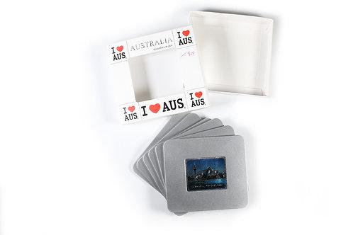 Australian Souvenir Coaster set Sydney opera house metal cover Aussie gift