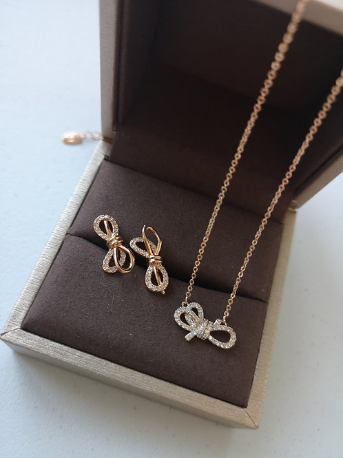 Rose Gold Plated bow worn design Fashion necklace  Gift Set