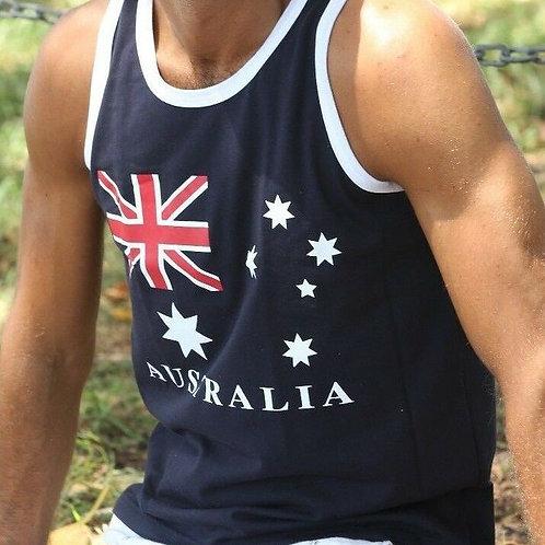 Unisex Adult Australia Flag Souvenir Singlet (100% Cotton)