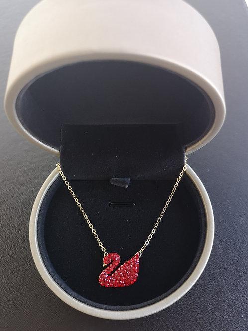 Classic Christmas Red Swarovski Design Pendant Necklace