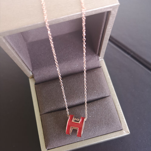 HERMES POP H DESIGN Pendant with Rose gold Necklace