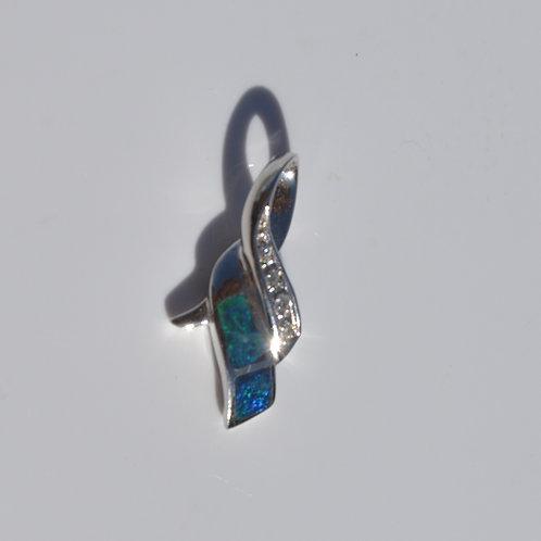 Sterling Silver Genuine Precious Opal Doublet Pendant Necklace